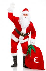 Joulupukki tuo myyntijohtajalle euroja