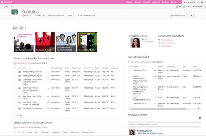 Training workspace in SharePoint 2013